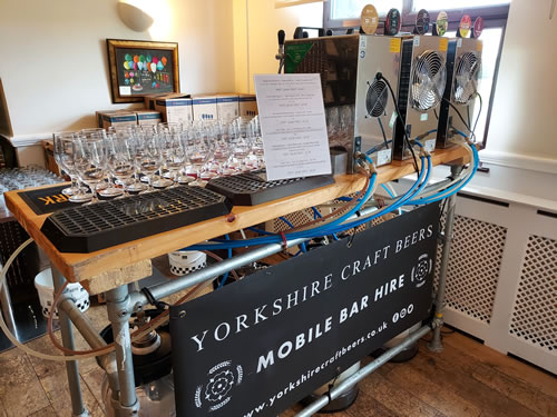 Mobile bar hired by a Yorkshire customer serving cold craft beer